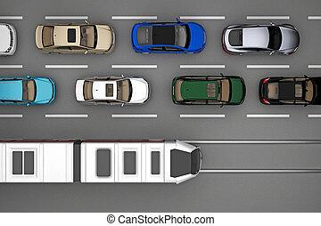 自動車, 上, 柵, 列車, 交通, 背景, 光景
