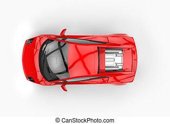 自動車, 上, 速い, 明るい赤, 光景