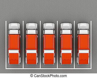 自動車, 上, 駐車, ごみ, 光景