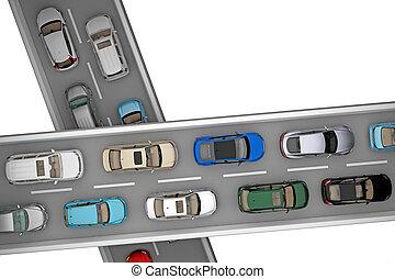 自動車, 上, 2, 交通, 背景, 道, 光景
