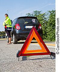自動車, 下方に, 警告, 壊される, 赤い三角形