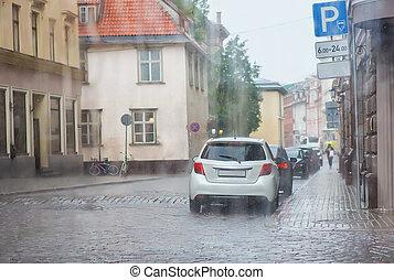 自動車, 中に, ∥, 駐車場, 雨