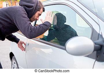 自動車, 中, 泥棒, 見る, 窓, 準備ができた, 盗みをはたらきなさい