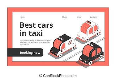 自動車, 予約, タクシー, ウェブサイト