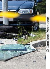 自動車, 事故, 道