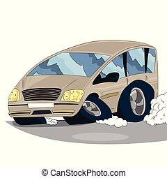 自動車, 例証された, バックグラウンド。, ベクトル, 白, 漫画