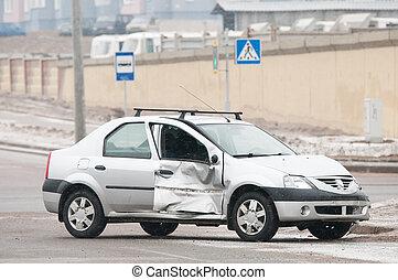 自動車, 傷つけられる, acciddent