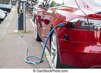 自動車, 充満, 赤, 電気である