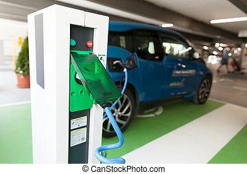 自動車, 充満, 電気である, 電池