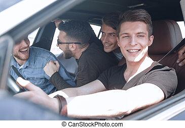 自動車, 光景, 友人, 旅行, 側
