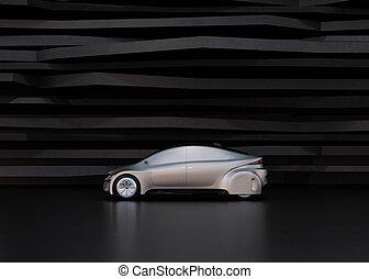 自動車, 光景, self-driving, 銀, 側