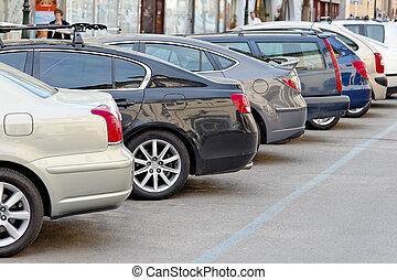 自動車, 公園, たくさん, 駐車