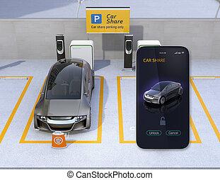 自動車, 分け前, app, 共有, 駐車, smartphone, たくさん
