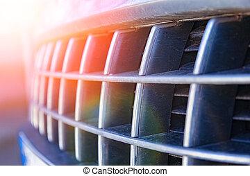 自動車, 前部, バンパー, 背景, 流行, 噛み合いなさい