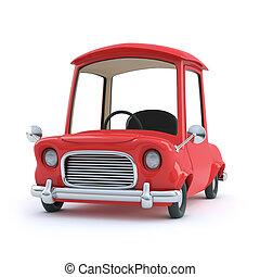 自動車, 前部, 3d, 漫画, 赤, 光景