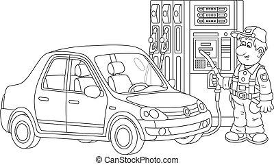 自動車, 労働者, 燃料を補給すること, 駅, ガス