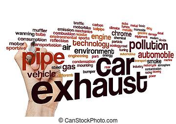 自動車, 単語, 雲, 排気ガス