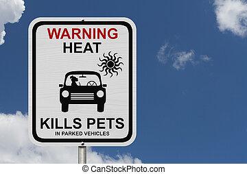 自動車, 去ること, 駐車される, 犬, 危険