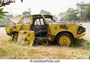 自動車, 古い, 大破