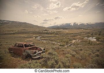 自動車, 古い, 捨てられた, 弾丸 穴