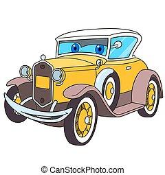 自動車, 古い, 漫画, レトロ
