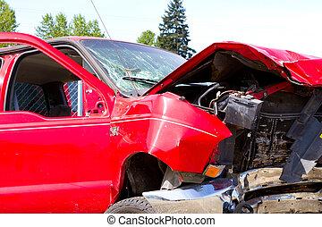 自動車, 古物置場, 細部, 衝突