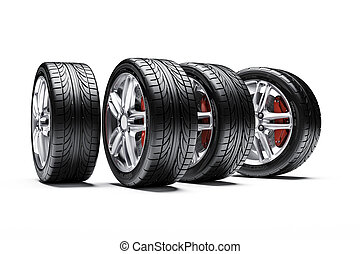 自動車, 合金, 車輪, タイヤ, 3d