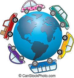 自動車, 地球, のまわり, 地球