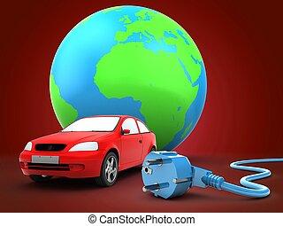 自動車, 地球, 3d, 地球