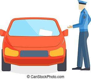 自動車, 執筆, 駐車, 番人, 運転手, 付き添い人, 交通切符, vector., スピード違反, 警官, 概念