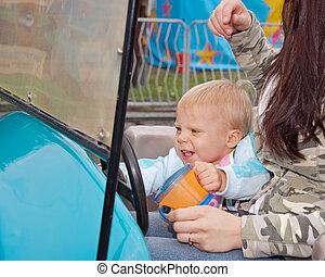 自動車, 女の子, カーニバル, 運転