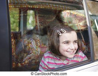 自動車, 女の子, 窓