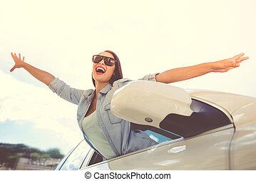 自動車, 女の子, 運転