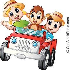 自動車, 子供, サル, 運転, 幸せ