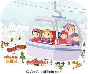 自動車, 子供, stickman, ケーブル