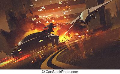 自動車, 宇宙船, 追跡, 未来派