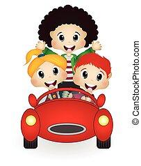 自動車, 幸せ, 子供