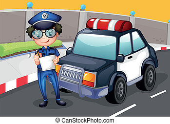 自動車, 彼の, 警察, 警官
