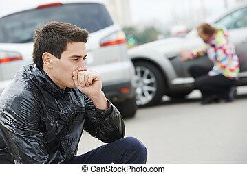 自動車, 後で, 混乱, 人, 事故