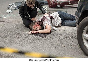 自動車, 後で, 衝突, 死んだ, 人
