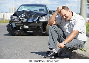 自動車, 後で, 衝突, 混乱, 人