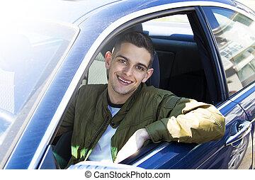 自動車, 微笑, 運転手, 若い
