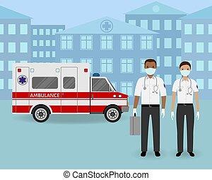 自動車, 恋人, 医院, 医学, 地位, バックグラウンド。, チーム, 一緒に, 労働者, 救急車, マスク