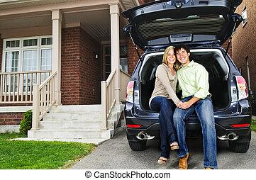 自動車, 恋人, 背中, モデル