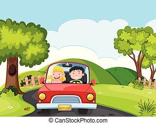 自動車, 恋人, 運転