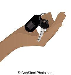 自動車, 把握, キー, 手
