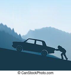 自動車, 押す