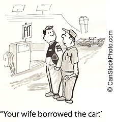 自動車, 持つ, 妻
