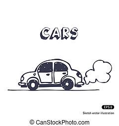 自動車, 排気ガス, 吹く, 漫画, 発煙