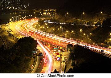 自動車, 提示, 動き, ライト, 交通, blurry, 夜, スピード, 道